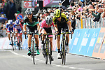 Mikel Nieve (ESP) and race leader Simon Yates (GBR) Mitchelton-Scott and Davide Formolo (ITA) Bora-Hansgrohe cross the finish line at the end of Stage 18 of the 2018 Giro d'Italia, running 196km from Abbiategrasso to Prato Nevoso, Italy. 24th May 2018.<br /> Picture: LaPresse/Gian Mattia D'Alberto | Cyclefile<br /> <br /> <br /> All photos usage must carry mandatory copyright credit (&copy; Cyclefile | LaPresse/Gian Mattia D'Alberto)