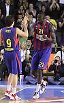 Euroleague el FC Barcelona guanya 83 -82 al Panathinaikos en el primer partit del playoff. Ricky Rubio i Ndong celebran una cistella