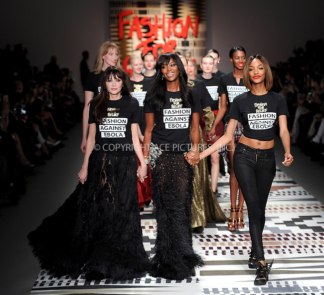 WWW.ACEPIXS.COM<br /> <br /> February 19 2015, London<br /> <br /> Annabelle Neilson, Naomi Campbell and Jourdan Dunn walk the runway at the Fashion For Relief charity fashion show to kick off London Fashion Week 2015 at Somerset House on February 19 29015 in London<br /> <br /> By Line: Famous/ACE Pictures<br /> <br /> <br /> ACE Pictures, Inc.<br /> tel: 646 769 0430<br /> Email: info@acepixs.com<br /> www.acepixs.com