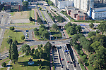 View over road junction and traffic from   the 185 metre tall Euromast tower, Rotterdam, Netherlands