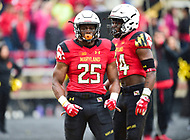 College Park, MD - APR 22, 2016: Maryland Terrapins linebacker Antoine Brooks (25) celebrates an interception during the 2017 Spring game at Capital One Field at Maryland Stadium in College Park, MD. (Photo by Phil Peters/Media Images International)