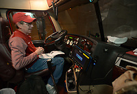NWA Democrat-Gazette/ANDY SHUPE<br />Jerry Rico of Fayetteville prepares a semi-truck Thursday, Nov. 9, 2017, before heading out to Baton Rouge, La., ahead of the Razorbacks' game with LSU Saturday. Rico and coworker Rodney Collins are employees of J.B. Hunt Transport and the work together to drive equipment necessary for the Razorbacks football team to and from games away from Fayetteville.