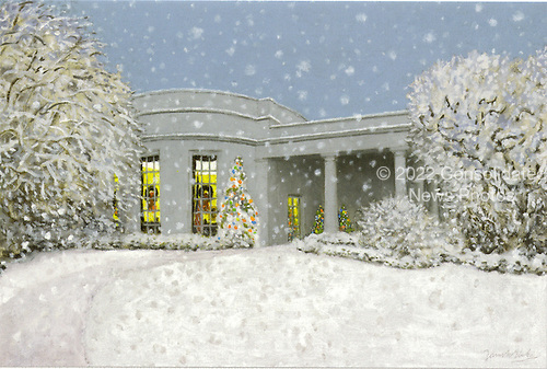 "Washington, D.C. - November 30, 2006 -- This is the picture on the front of the Christmas card mailed by the President and Mrs. Bush from Crawford, Texas.  It depicts the ""Oval Office in December"" and was painted by James Blake. The 2006 White House Holiday Decorations were previewed for the press in Washington, D.C. on Thursday, November 30, 2006.  This year's theme is ""Deck the Halls and Welcome All"".   In all, it is expected that 45,000 guests will tour the White House during the holidays.  .Credit: Ron Sachs / CNP"
