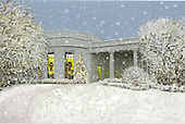 """Washington, D.C. - November 30, 2006 -- This is the picture on the front of the Christmas card mailed by the President and Mrs. Bush from Crawford, Texas.  It depicts the """"Oval Office in December"""" and was painted by James Blake. The 2006 White House Holiday Decorations were previewed for the press in Washington, D.C. on Thursday, November 30, 2006.  This year's theme is """"Deck the Halls and Welcome All"""".   In all, it is expected that 45,000 guests will tour the White House during the holidays.  .Credit: Ron Sachs / CNP"""