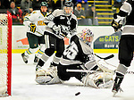 5 February 2011: Providence College Friar goaltender Alex Beaudry, a Junior from Cumberland, Ontario, in action against the University of Vermont Catamounts at Gutterson Fieldhouse in Burlington, Vermont. The Catamounts defeated the Friars 7-1 in the second game of their weekend series. Mandatory Credit: Ed Wolfstein Photo