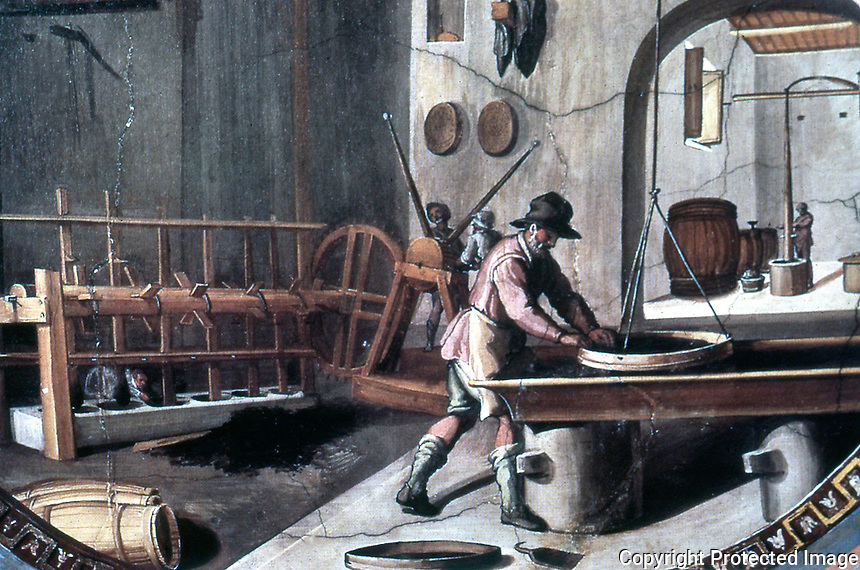 Visual Arts:  Guns--Preparing Gun Powder. 16th Century Fresco by B. Poccetti.  Uffizi Museum.