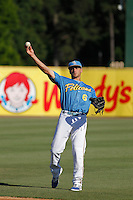 Myrtle Beach Pelicans outfielder Mark Zagunis (6) throwing in the outfield before a game against the Potomac Nationals at Ticketreturn.com Field at Pelicans Ballpark on May 23, 2015 in Myrtle Beach, South Carolina.  Myrtle Beach defeated Potomac 7-3. (Robert Gurganus/Four Seam Images)