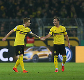February 5th 2019, Dortmund, Germany, German DFB Cup round of 16, Borussia Dortmund versus SV Werder Bremen;   Celebration for the goal for 1-1 by free kick, Marco REUS, BVB with Mario GOTZE