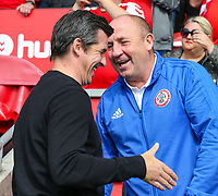 Accrington Stanley manager John Coleman jokes with Fleetwood Town manager Joey Barton<br /> <br /> Photographer Alex Dodd/CameraSport<br /> <br /> The EFL Sky Bet League One - Fleetwood Town v Accrington Stanley - Saturday 15th September 2018  - Highbury Stadium - Fleetwood<br /> <br /> World Copyright &copy; 2018 CameraSport. All rights reserved. 43 Linden Ave. Countesthorpe. Leicester. England. LE8 5PG - Tel: +44 (0) 116 277 4147 - admin@camerasport.com - www.camerasport.com