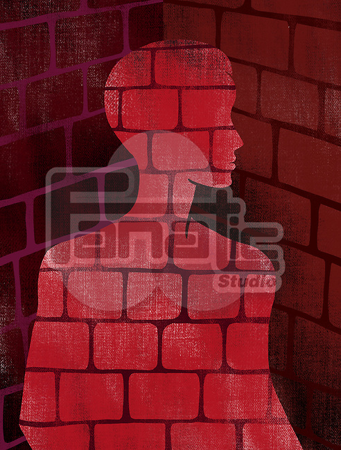 Illustrative image of man made of bricks representing bondage