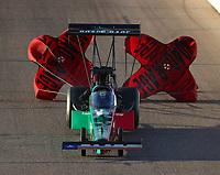 Feb 23, 2018; Chandler, AZ, USA; NHRA top fuel driver Kebin Kinsley during qualifying for the Arizona Nationals at Wild Horse Pass Motorsports Park. Mandatory Credit: Mark J. Rebilas-USA TODAY Sports