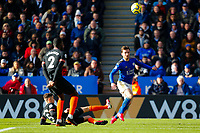 1st February 2020; King Power Stadium, Leicester, Midlands, England; English Premier League Football, Leicester City versus Chelsea; Ben Chilwell of Leicester City watches his looping shot go in for his team's second goal after 64 minutes (2-1)