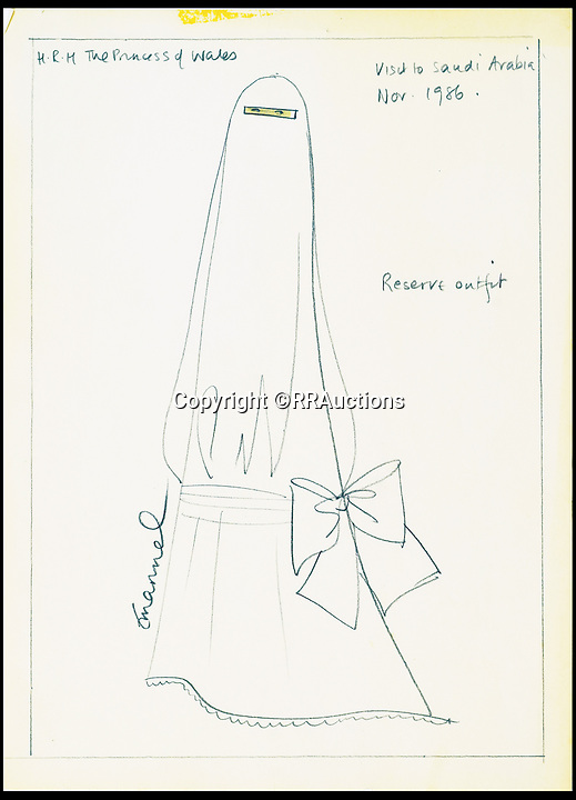 BNPS.co.uk (01202 558833)<br /> Pic: RRAuctions/BNPS<br /> <br /> A sketch of a burka, designed for Princess Diana's visit to Saudi Arabia in 1986.<br /> <br /> Fascinating sketches of outfits designed for Princess Diana's visit to Saudi Arabia 32 years ago have come to light - and they include a burka.<br /> <br /> Before Diana and Prince Charles embarked on their 1986 tour of the Gulf states, one of her favourite designers was contacted by Diana's lady in waiting with instructions to make dresses which 'conformed to local customs'.<br /> <br /> The husband and wife team David and Elizabeth Emanuel, who made Diana's wedding dress, submitted sketches for four different demure, long sleeved outfits.<br /> <br /> The fifth, 'reserve' outfit, which was also sketched, was a burka covering Diana from head to toe with only a gap for her eyes.