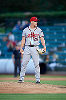 Richmond Flying Squirrels relief pitcher Caleb Simpson (29) looks in for the sign during a game against the Altoona Curve on May 15, 2018 at Peoples Natural Gas Field in Altoona, Pennsylvania.  Altoona defeated Richmond 5-1.  (Mike Janes/Four Seam Images)