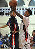 Tyrone Lyons of Team Suffolk (St. Anthony's HS), right, looks to drive to the hoop during the Alzheimer's All-Star Basketball Classic against Team Nassau at Bay Shore High School on Sunday, Oct. 23, 2016. Nassau won 87-82 in overtime.