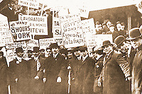 Historical Photos:   Immigrants--Workers Picket.  Schoener, PORTAL TO AMERICA, p. 220.  Brown Brothers (stock photos), undated.