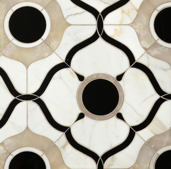 Wesley Petite, a waterjet mosaic shown in polished White Onyx, Calacatta and Nero Marquina, is part of the Aurora® collection by Sara Baldwin for New Ravenna.