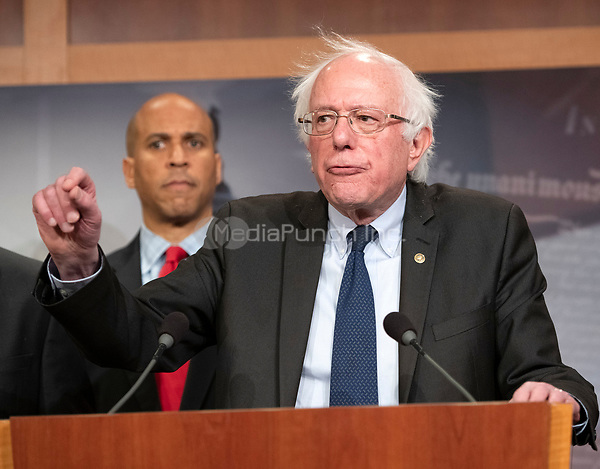 United States Senator Bernie Sanders (Independent of Vermont) makes remarks at a press conference in the US Capitol in Washington, DC announcing a Democratic package of three bills to be introduced in the US Senate and US House to control prescription drug prices on Thursday, January 10, 2019.<br /> Credit: Ron Sachs / CNP /MediaPunch
