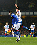 Romelu Lukaku of Everton battles Damien Delaney of Crystal Palace - Everton vs Crystal Palace - Barclays Premier League - Goodison Park - Liverpool - 07/12/2015 Pic Philip Oldham/SportImage