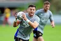 Jeff Williams of Bath Rugby with the ball during the pre-match warm-up. Pre-season friendly match, between the Scarlets and Bath Rugby on August 20, 2016 at Eirias Park in Colwyn Bay, Wales. Photo by: Patrick Khachfe / Onside Images