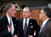 """Washington, DC - July 13, 2009 -- United States Senators Edward E. """"Ted"""" Kaufman (Democrat of Delaware), left, Arlen Specter (Democrat of Pennsylvania), center, and Al Franken (Democrat of Minnesota), right, share some thoughts during a break as the U.S. Senate Judiciary Committee considers the nomination of Judge Sonia Sotomayor as Associate Justice of the U.S. Supreme Court on Monday, July 13, 2009..Credit: Ron Sachs / CNP"""
