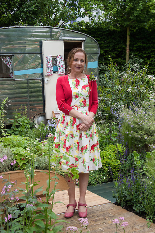 Jo Thompson, designer of A Celebration of Caravanning show garden, RHS Chelsea Flower Show 2012.