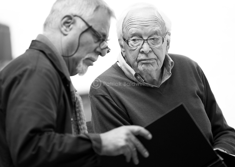 """King Lear"" rehearsed reading rehearsals. Old Vic Theatre. Director: Jonathan Miller. Barrie Rutter (L), Tony Britton (R)."