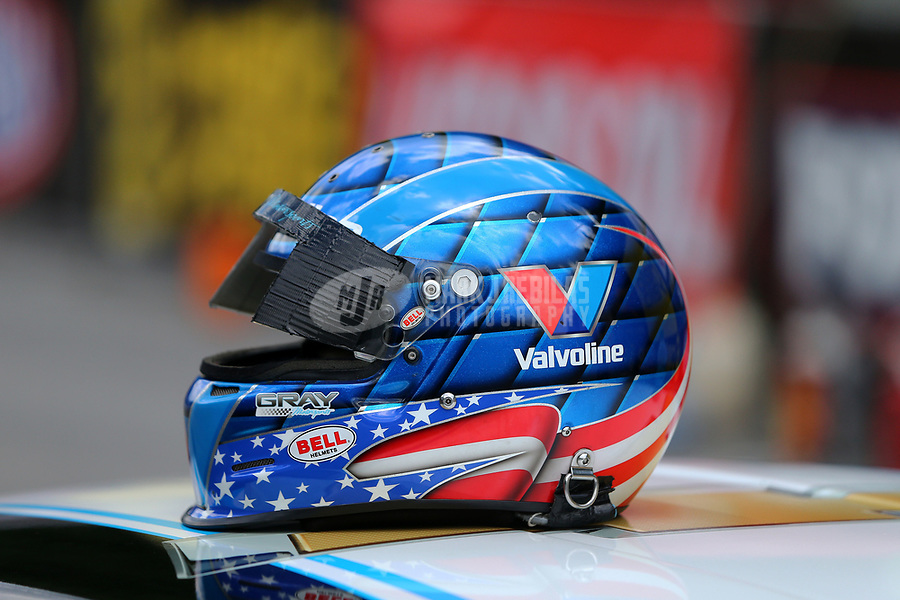 Jun 17, 2017; Bristol, TN, USA; Detailed view of the helmet of NHRA pro stock driver Shane Gray during qualifying for the Thunder Valley Nationals at Bristol Dragway. Mandatory Credit: Mark J. Rebilas-USA TODAY Sports