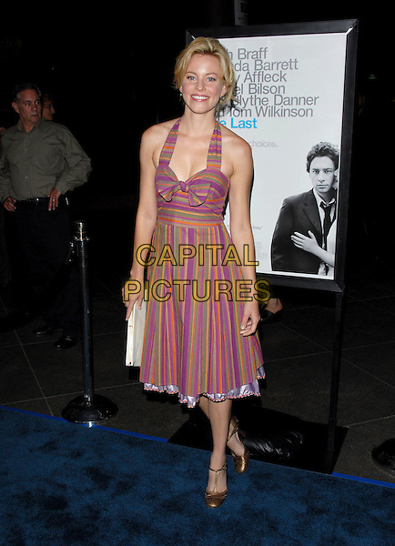 "ELIZABETH BANKS.L.A. Premiere of ""The Last Kiss"" held at The DGA in West Hollywood, California, USA..September 13th, 2006.Ref: DVS.full length purple halterneck stripes striped dress bow.www.capitalpictures.com.sales@capitalpictures.com.©Debbie VanStory/Capital Pictures"