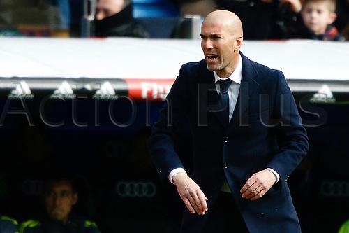 05.03.2016.  Madrid, Spain. Zinedine Zidane Coach of Real Madrid La Liga between Real Madrid versus Celta de Vigo at the Santiago Bernabeu stadium in Madrid, Spain