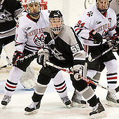 Justin Daniels (NU - 11), Daniel New (Providence - 55), Tyler McNeely (NU - 94) - The Northeastern University Huskies defeated the Providence College Friars 3-1 (EN) on Tuesday, January 19, 2010, at Matthews Arena in Boston, Massachusetts.