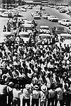 A mass rally in main street of Batesville,Ms, during a stop along route of 2nd Meredith March Against Fear through Mississippi photographed by Jim Peppler for essay published in The Southern Courier on June 25, 1966. Photo copyrighted Jim Peppler/1966. This and over 10,000 other images are part of the Jim Peppler Collection at The Alabama Department of Archives and History:  http://digital.archives.alabama.gov/cdm4/peppler.php