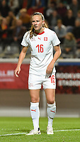 20181005 - LEUVEN , BELGIUM : Switzerland's Malin Gut  pictured during the female soccer game between the Belgian Red Flames and Switzerland , the first leg in the semi finals play offs for qualification for the World Championship in France 2019, Friday 5 th october 2018 at OHL Stadion Den Dreef in Leuven , Belgium. PHOTO SPORTPIX.BE | DIRK VUYLSTEKE