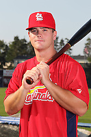 Batavia Muckdogs outfielder Chris Edmondson poses for a photo in a Cardinals uniform before a game vs. the State College Spikes at Dwyer Stadium in Batavia, New York July 17, 2010.   Batavia defeated State College 12-11 in 11 innings.  Photo By Mike Janes/Four Seam Images