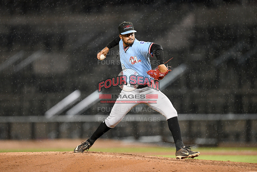 Pitcher Grant Anderson (16) of the Hickory Crawdads delivers a pitch in a game against the Columbia Fireflies on Tuesday, August 27, 2019, at Segra Park in Columbia, South Carolina. Columbia won, 3-2. (Tom Priddy/Four Seam Images)