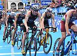 06.07.2019,  Innenstadt, Hamburg, GER, Hamburg Wasser World Triathlon, Elite Mainner, im Bild die Triathleten auf dem Fahrrad auf dem Rathausplatz mit Lasse Luehrs (Lührs GER) Foto © nordphoto / Witke *** Local Caption ***