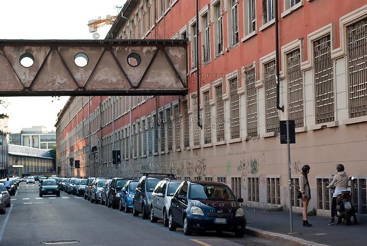 Milano, la facciata su via Tortona dell'ex impianto industriale Ansaldo --- Milan, Tortona street, former industrial plant Ansaldo
