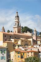 France, Provence-Alpes-Côte d'Azur, Menton: old town with cathedral Saint Michel | Frankreich, Provence-Alpes-Côte d'Azur, Menton: mit Altstadt und der Kathedrale Saint Michel