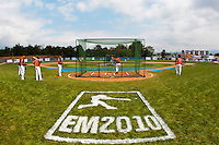 24 july 2010: General view of the field of Neuenburg as Team Netherlands takes batting practice prior to Netherlands 10-0 victory over France, in day 2 of the 2010 European Championship Seniors, in Neuenburg, Germany.