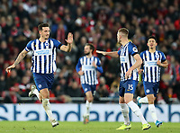 30th November 2019; Anfield, Liverpool, Merseyside, England; English Premier League Football, Liverpool versus Brighton and Hove Albion;  Lewis Dunk of Brighton and Hove Albion is congratulated after scoring from a free kick by Adam Webster of Brighton and Hove Albion - Strictly Editorial Use Only. No use with unauthorized audio, video, data, fixture lists, club/league logos or 'live' services. Online in-match use limited to 120 images, no video emulation. No use in betting, games or single club/league/player publications