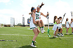 RICHMOND, VA - APRIL 27: Notre Dame's Katherine Eilers (13) is carried during player introductions by Hannah Rees (left). The Notre Dame Fighting Irish played the Boston College Eagles on April 27, 2017, at Sports Backers Stadium in Richmond, VA in an ACC Women's Lacrosse Tournament quarterfinal match. Boston College won the game 17-14.