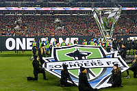 Toronto, ON, Canada - Saturday Dec. 10, 2016: Seattle Sounders FC prior to the MLS Cup finals at BMO Field. The Seattle Sounders FC defeated Toronto FC on penalty kicks after playing a scoreless game.