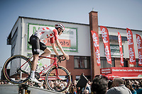 Tiesj Benoot (BEL/Lotto-Soudal) rolling off the start presentation podium<br /> <br /> 62nd E3 BinckBank Classic (Harelbeke) 2019 <br /> One day race (1.UWT) from Harelbeke to Harelbeke (204km)<br /> <br /> ©kramon