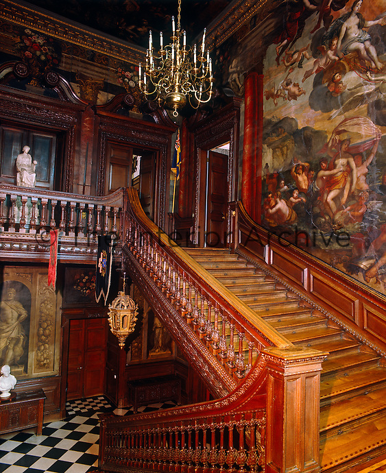 The Grand Staircase, attributed to Captain William Winde, has walls which were decorated in 1705 by Gerard Lanscroon, a pupil of Verrio