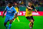 09.08.2019, Merkur Spiel-Arena, Düsseldorf, GER, DFB Pokal, 1. Hauptrunde, KFC Uerdingen vs Borussia Dortmund , DFB REGULATIONS PROHIBIT ANY USE OF PHOTOGRAPHS AS IMAGE SEQUENCES AND/OR QUASI-VIDEO<br /> <br /> im Bild | picture shows:<br /> Lukasz Piszczek (Borussia Dortmund #26) fordert den Ball, <br /> <br /> Foto © nordphoto / Rauch