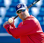 18 March 2007: Washington Nationals Manager Manny Acta hits infield grounders prior to the Nationals facing the Florida Marlins at Space Coast Stadium in Viera, Florida...Mandatory Photo Credit: Ed Wolfstein Photo