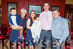 The christening of Caoimhe Bradley from Tralee on Saturday evening in Benners Hotel.<br /> Seated l to r: Miriam Barry (GM), Jack Bradley, Gillian Lynch, Tom Bradley and Jason Lynch (GF).