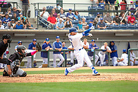 Los Angeles Dodger Justin Turner (31) on rehab assignment playing for the Rancho Cucamonga Quakes loses his grip on his bat during his at bat against the Visalia Rawhide at LoanMart Field on May 13, 2018 in Rancho Cucamonga, California. The Quakes defeated the Rawhide 3-2.  (Donn Parris/Four Seam Images)