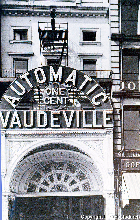 Movie Theatres: NY--One Cent Vaudeville, 14th St., Circa 1900. SCHOENER, p. 140.