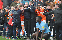 Fans mob Blackpool's Jordan Thompson and Donervon Daniels in celebration at their side's equalising goal to make the score 2-2<br /> <br /> Photographer Kevin Barnes/CameraSport<br /> <br /> The EFL Sky Bet League One - Blackpool v Southend United - Saturday 9th March 2019 - Bloomfield Road - Blackpool<br /> <br /> World Copyright © 2019 CameraSport. All rights reserved. 43 Linden Ave. Countesthorpe. Leicester. England. LE8 5PG - Tel: +44 (0) 116 277 4147 - admin@camerasport.com - www.camerasport.com